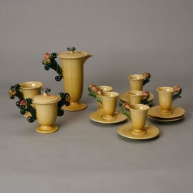 Photo of antique Mustard Color Ceramic Belgian Coffee Set