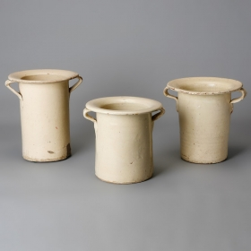Photo of antique Tall Italian Wide Rim Cream Pots