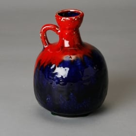 Photo of antique Mid Century Red and Blue Ceramic Jug