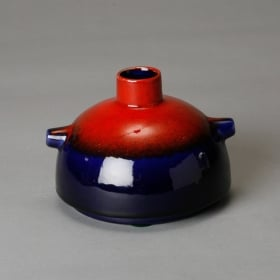 Photo of antique Mid Century Red and Blue Vase with Handles