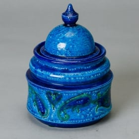 Photo of antique Bitossi for Rosenthal Netter Blue Paisley Ginger Jar