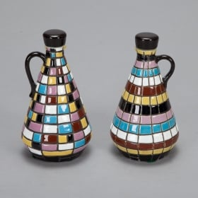 Photo of antique Mid Century Op Art Inspired Ceramic Oil and Vinegar Set