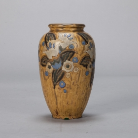 Photo of antique Boch Blue and Mustard Art Deco Vase Designed by Charles Catteau