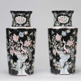 Photo of antique Pair Tall Black and White Chinese Vases
