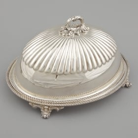 Photo of antique Victorian Silver Plated Domed Game Bird Platter