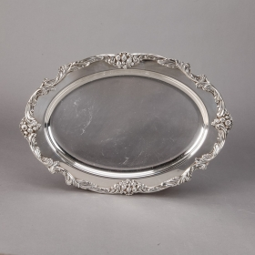 Photo of antique Reed & Barton King Francis Silver Plated Oval Tray