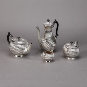 Photo of antique Four Piece Silver Plate Coffee and Tea Service