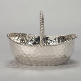Photo of antique Mid Century Wide Silver Plate Hammered Basket