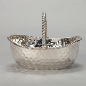 Photo of antique Mid Century Wide Nickel Plated Hammered Basket