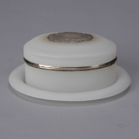 Photo of antique Oval White Opaline Glass Jar with Under Plate and Sterling