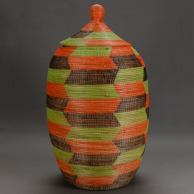 Photo of antique Tall Colorful Hand Woven Lidded Basket From Senegal