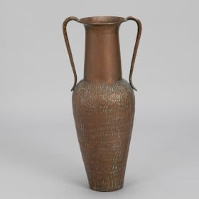 Photo of antique Tall Italian Hammered Copper Vase