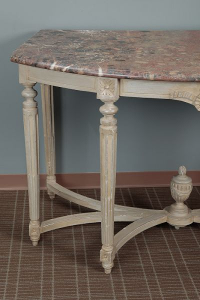 Extra Large French Painted Console Demilune Table Item 4188