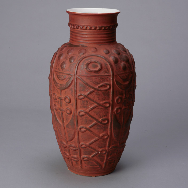 Mid Century German Embossed Terra Cotta Floor Vase Item 4300