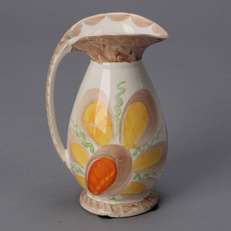 Myott Pottery Pitcher With Large Yellow Flower Item 4619
