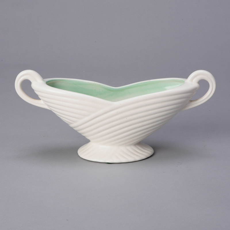 Arthur Wood Two Handeled Bowl With Green Interior Item 4653