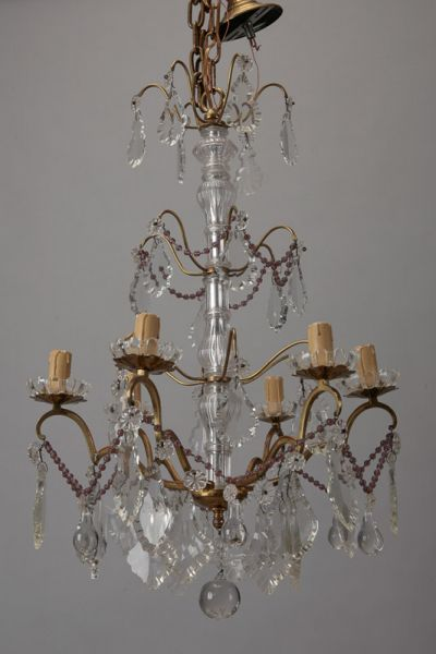 Italian Six Arm Brass And Crystal Chandelier With Amethyst