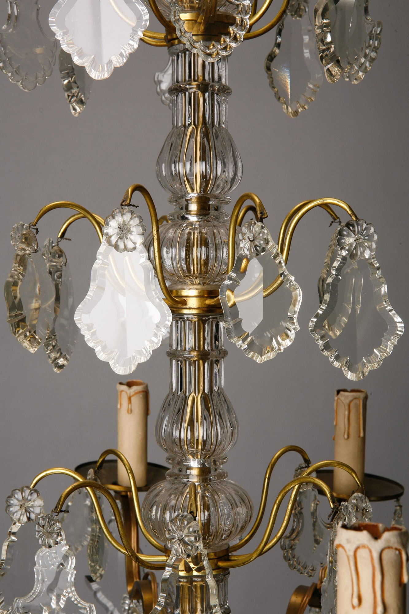 Eight Light French Crystal And Brass Chandelier Item 1325