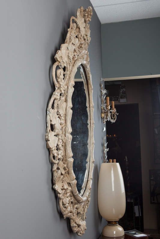 Large Beveled Oval Mirror With Carved Grape Vines Item 5550