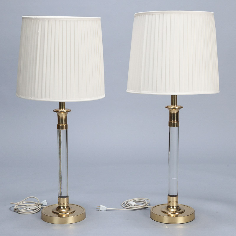 Pair Tall Mid Century Lucite And Brass Table Lamps Item 5728
