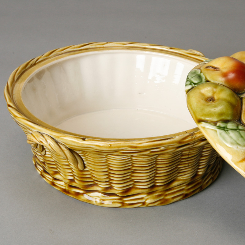 French Majolica Covered Bowl With Fruit Design On Lid Item 4922