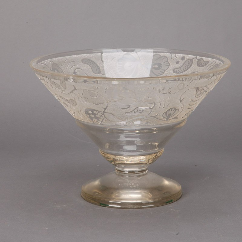 Large Art Deco Etched Glass Pedestal Bowl Item 6091