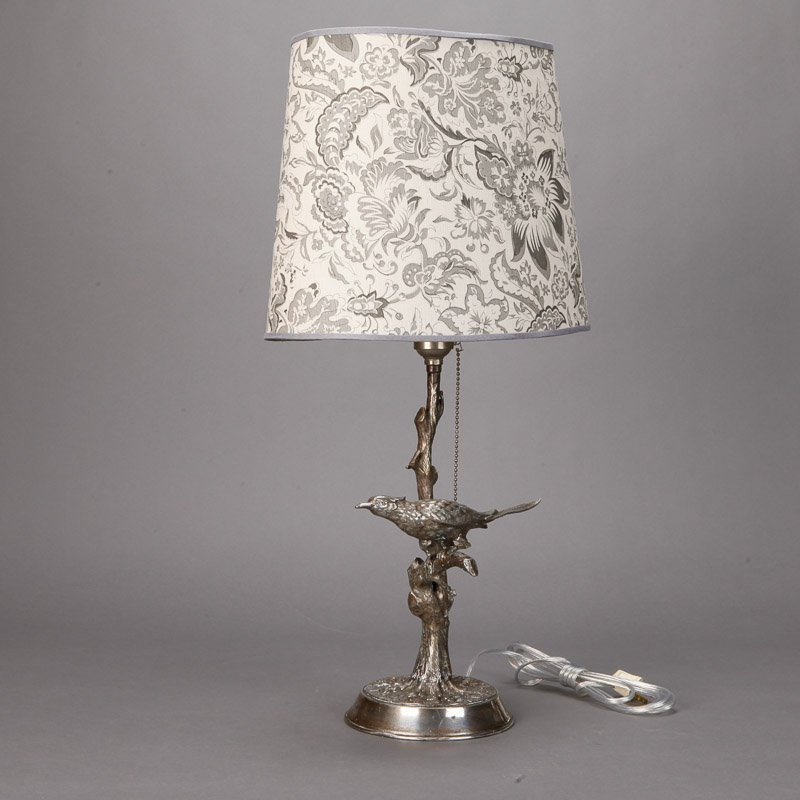 Silver Plate Table Lamp With Bird In Tree Item 5714