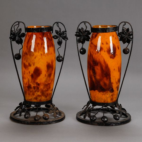 Pair Tall Signed Delatte Nancy Art Glass And Iron Vases