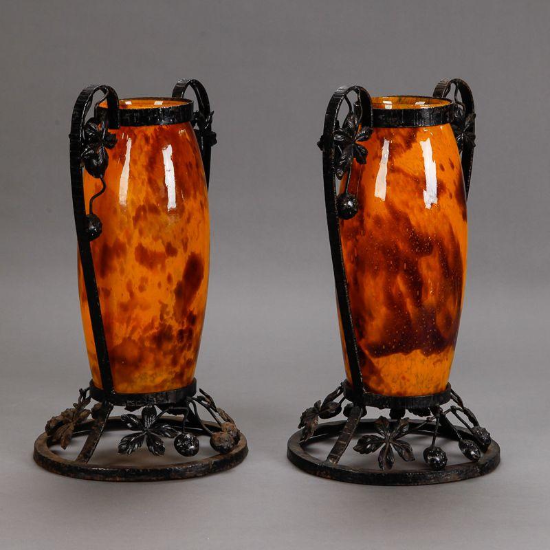 Pair Tall Signed Delatte Nancy Art Glass And Iron Vases Item 6083