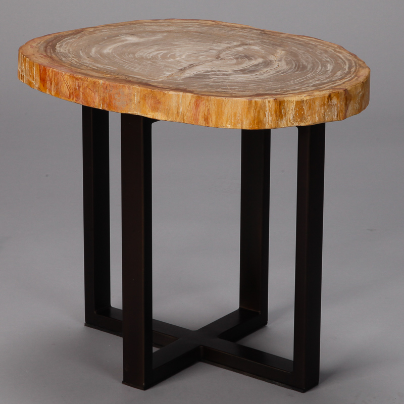 Small Side Table With Petrified Wood Top And Metal Legs
