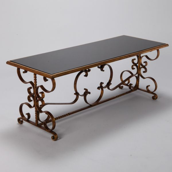 Italian Gilt Iron And Black Glass Cocktail Or Coffee Table