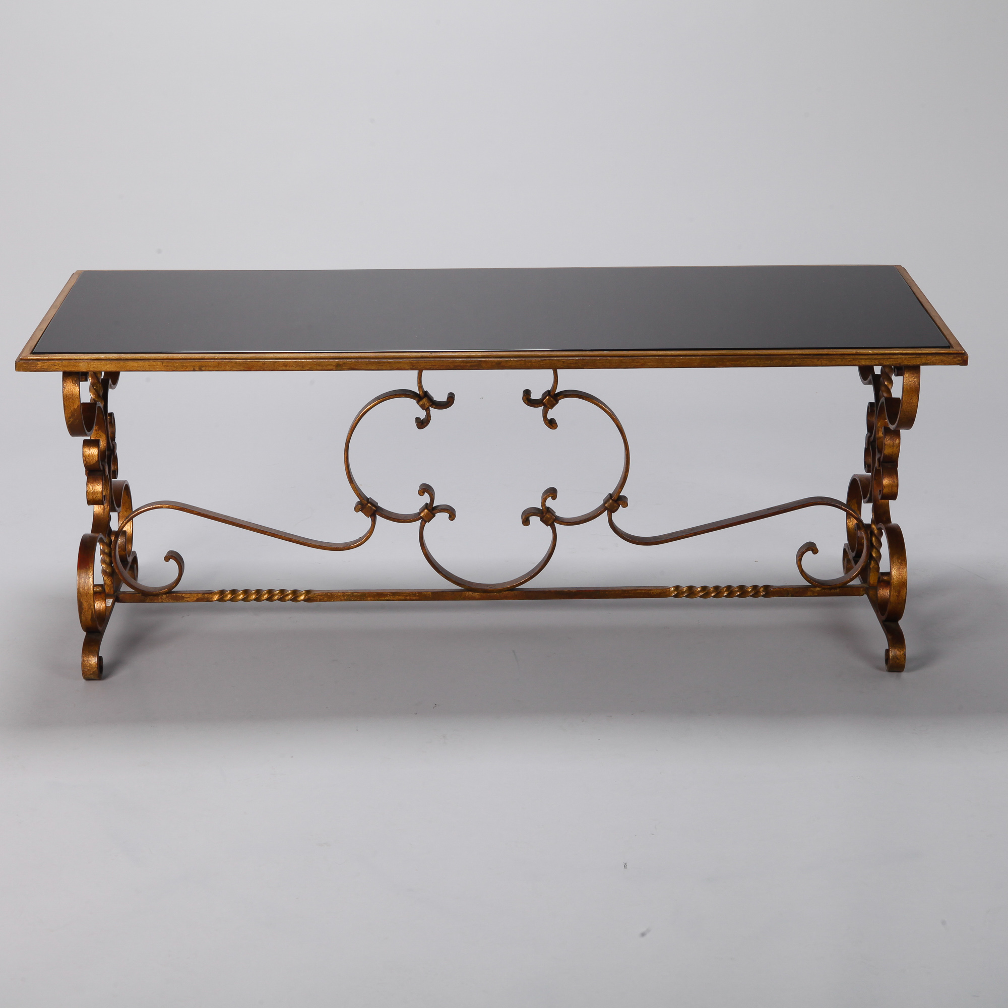 italian gilt iron and black glass cocktail or coffee table item 6461. Black Bedroom Furniture Sets. Home Design Ideas