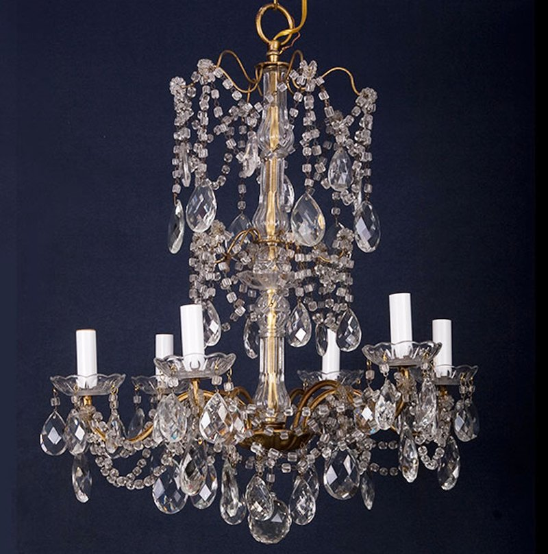Antique Italian 6 Light Crystal Chandelier With Large