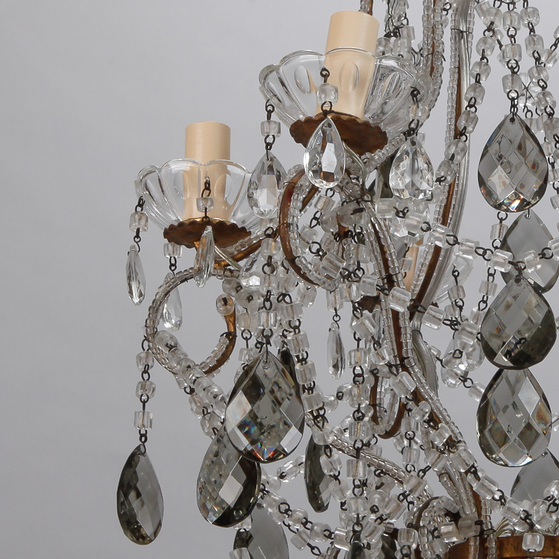 French Six Light All Crystal Beaded Chandelier With Smoke