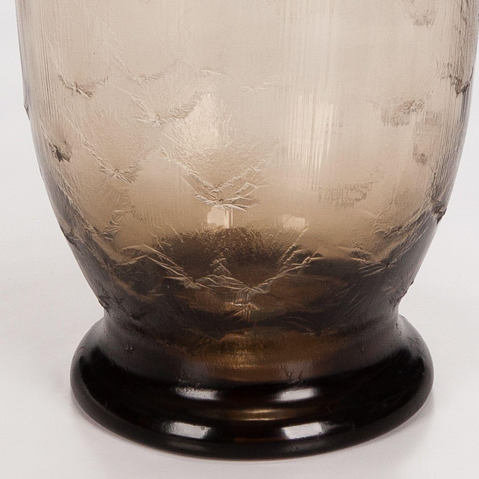 Amber Glass Art Deco Signed Daum Vase Gl1011