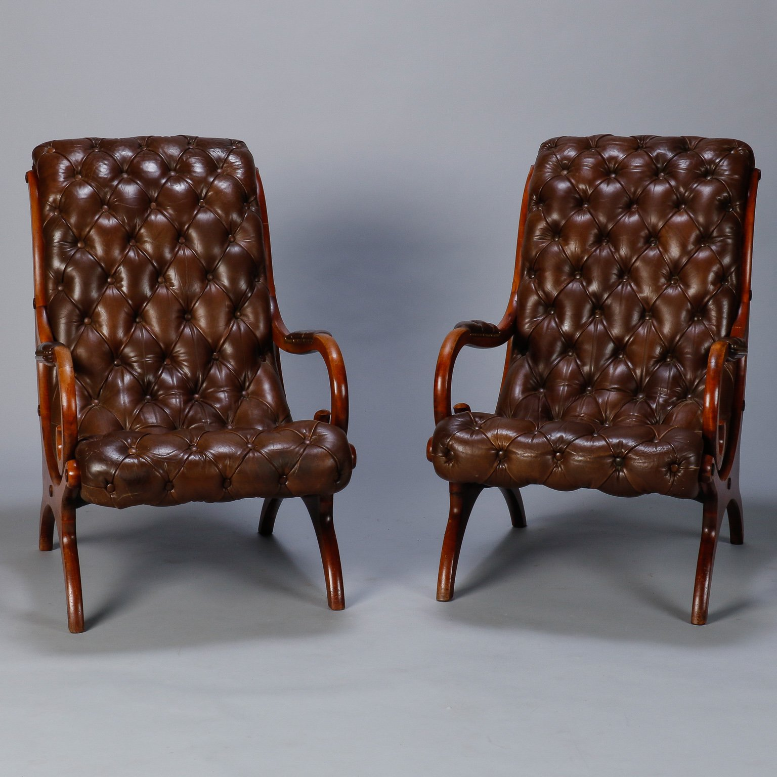 Cool Pair French Mid Century Tufted Leather Arm Chairs Item 7566 Pabps2019 Chair Design Images Pabps2019Com
