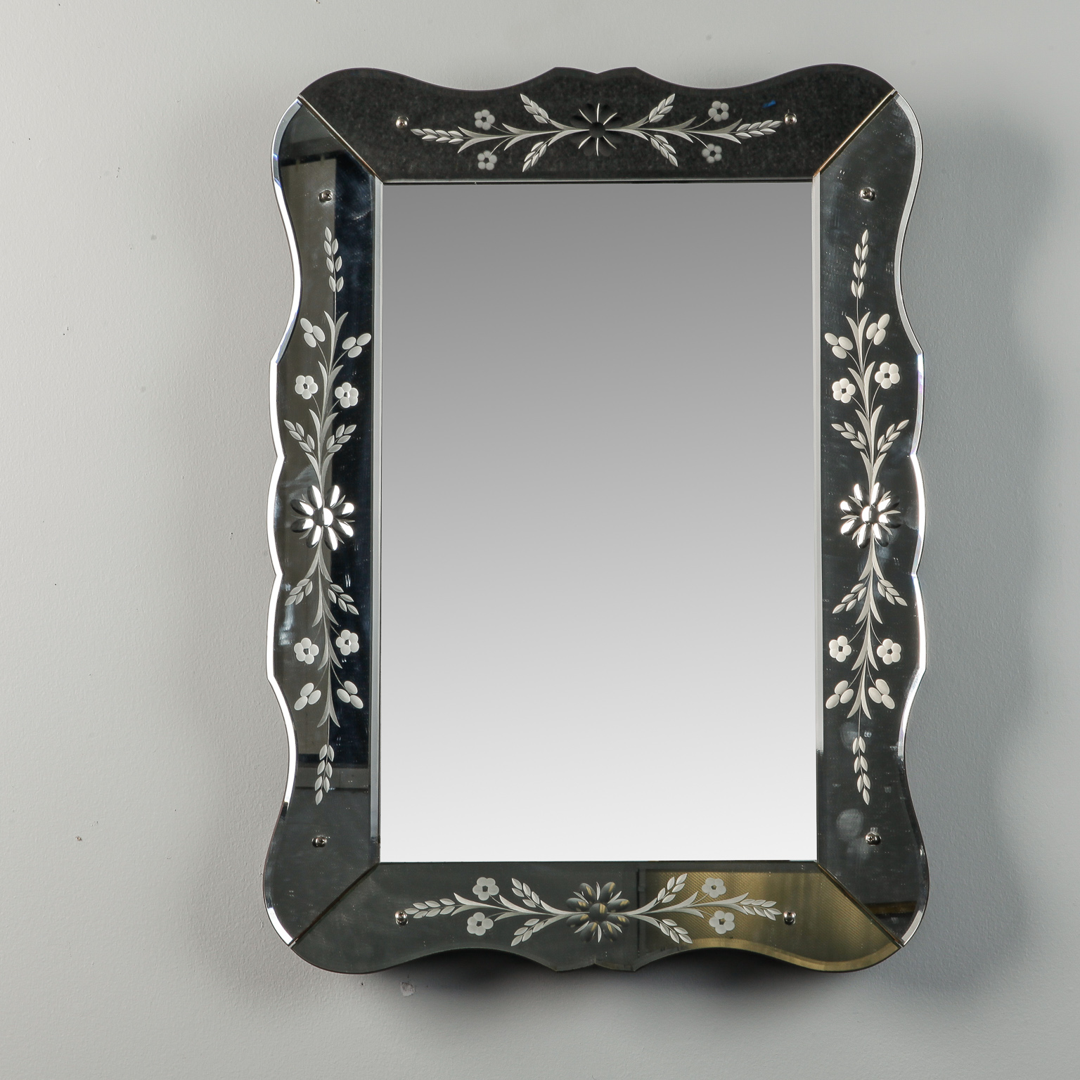 Art Deco Era Etched Frame Venetian Mirror Item 7582
