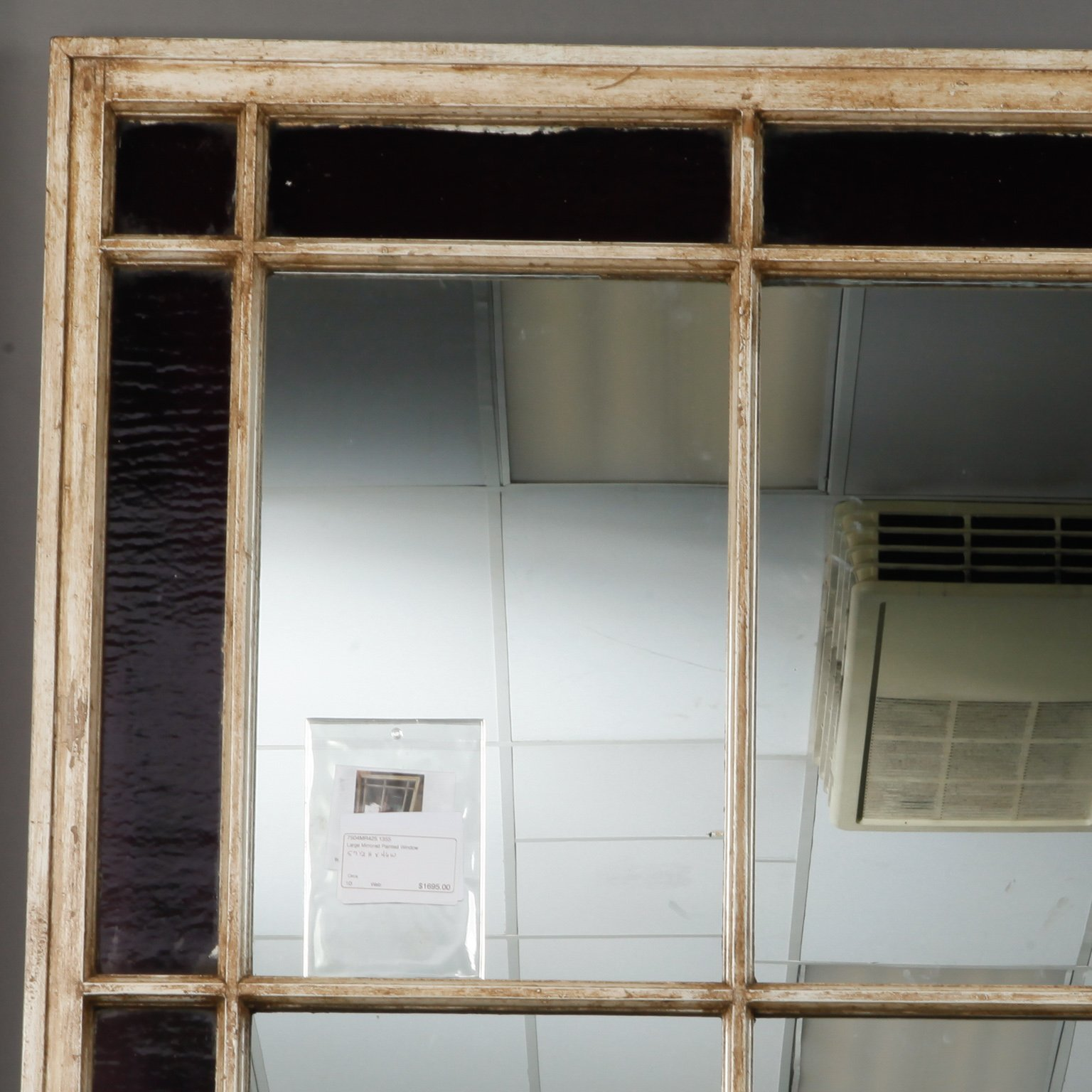 Antique Window Frame With Mirror And Original Stained