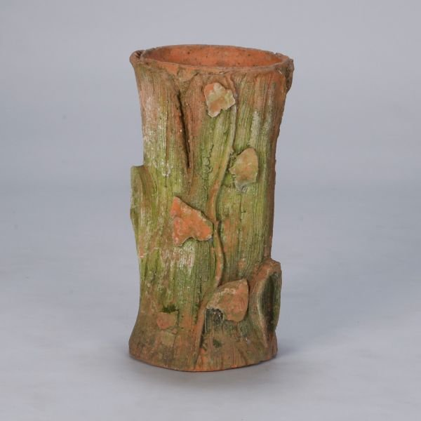 Art Nouveau Terra Cotta Tree Stump Umbrella Stand Item 7490