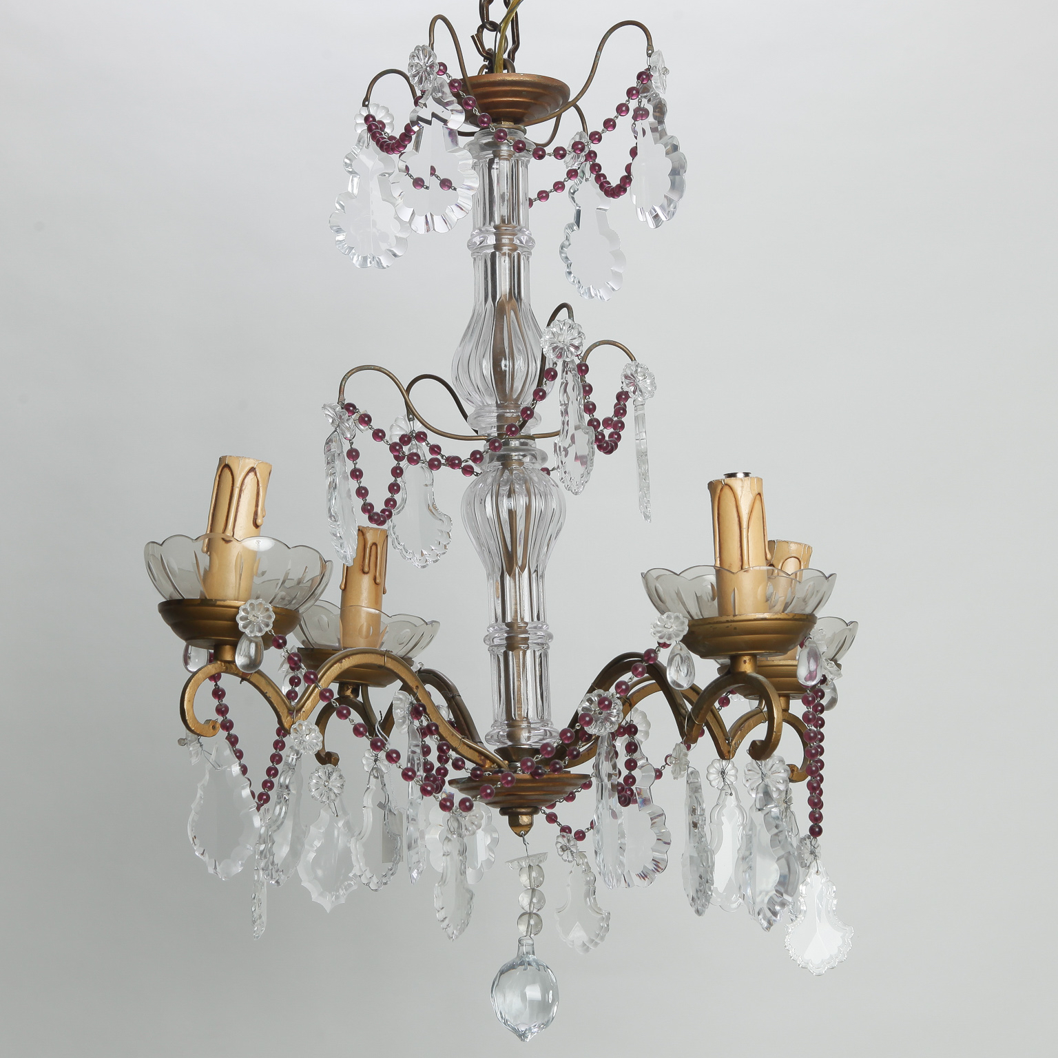 Four Arm French Chandelier With Amethyst Beads And