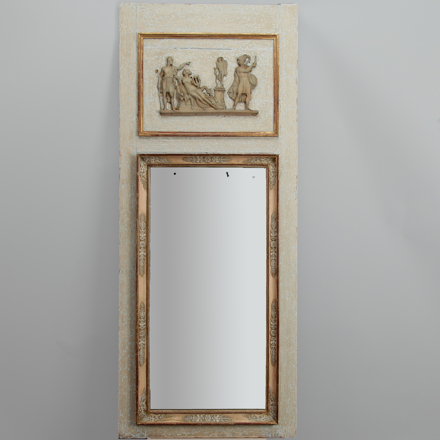 Trumeau Mirror With Antique White And Gilded Finish Item