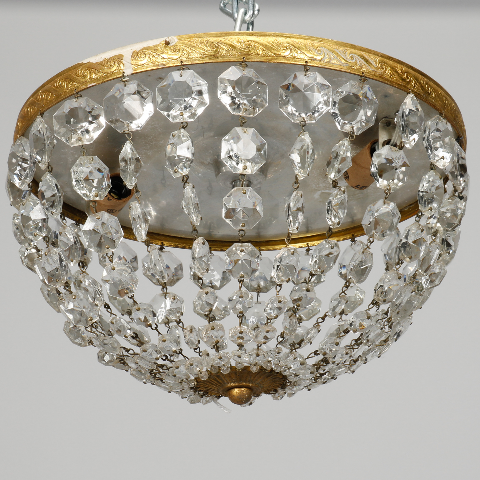 Round Brass And Crystal Beaded Flush Mount Fixture Item 8241