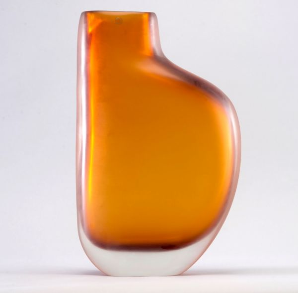 Limited Edition Amber Murano Cased Glass Vase By Arcade Item8610