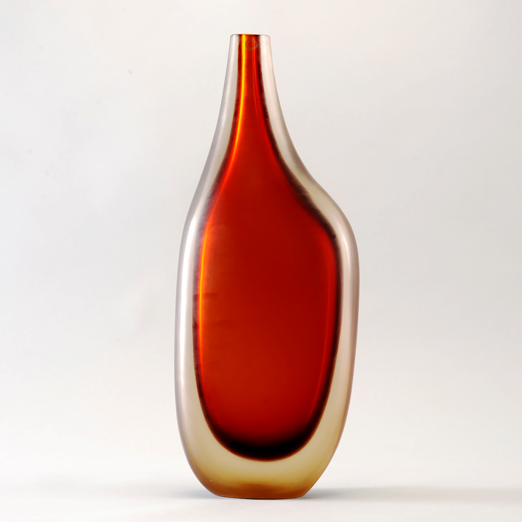 Limited Edition Red Murano Cased Glass Vase By Ivan Baj