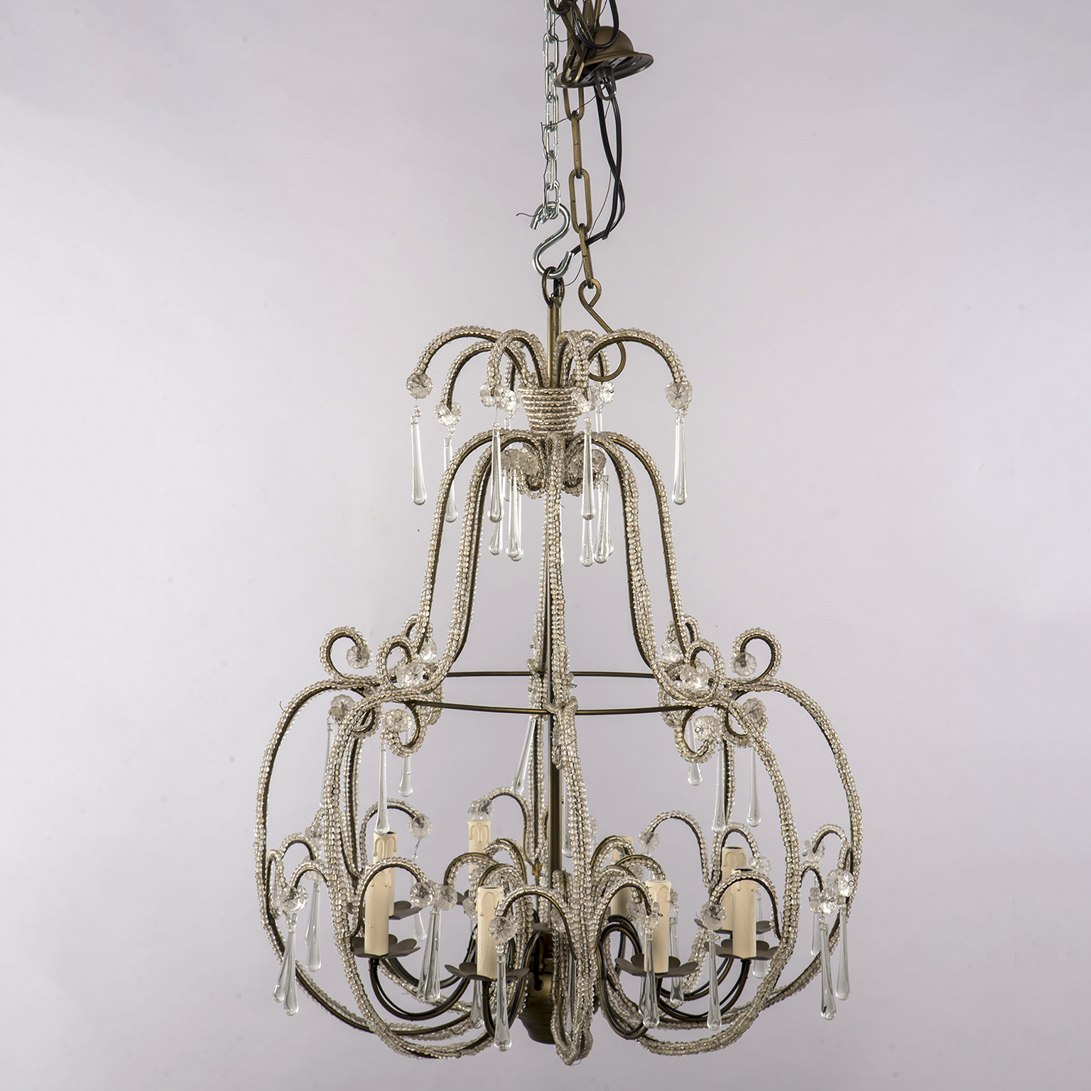 All Beaded French Style Eight Light Chandelier