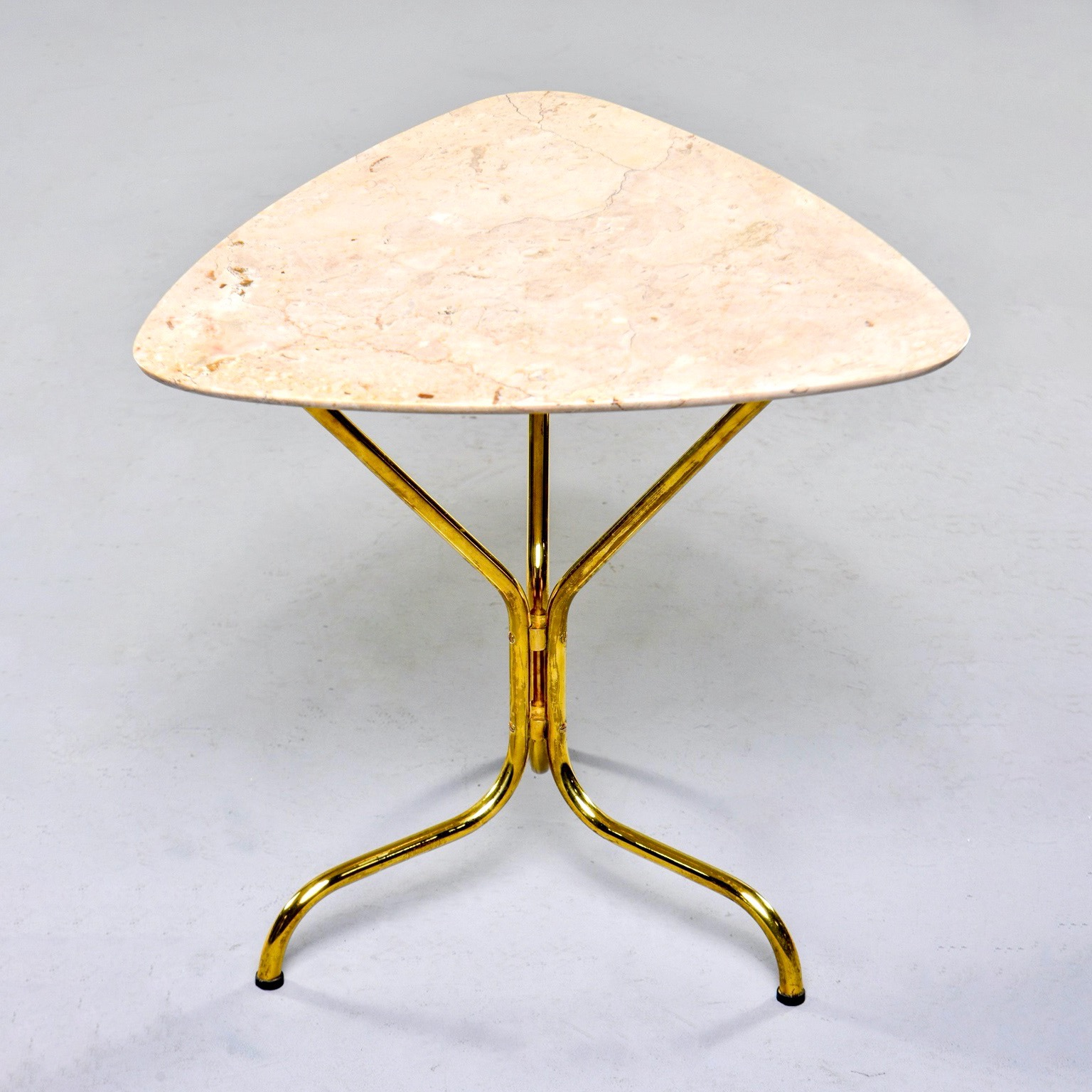 Italian Mid Century Side Table With Brass Base And Travertine Top Item 9530