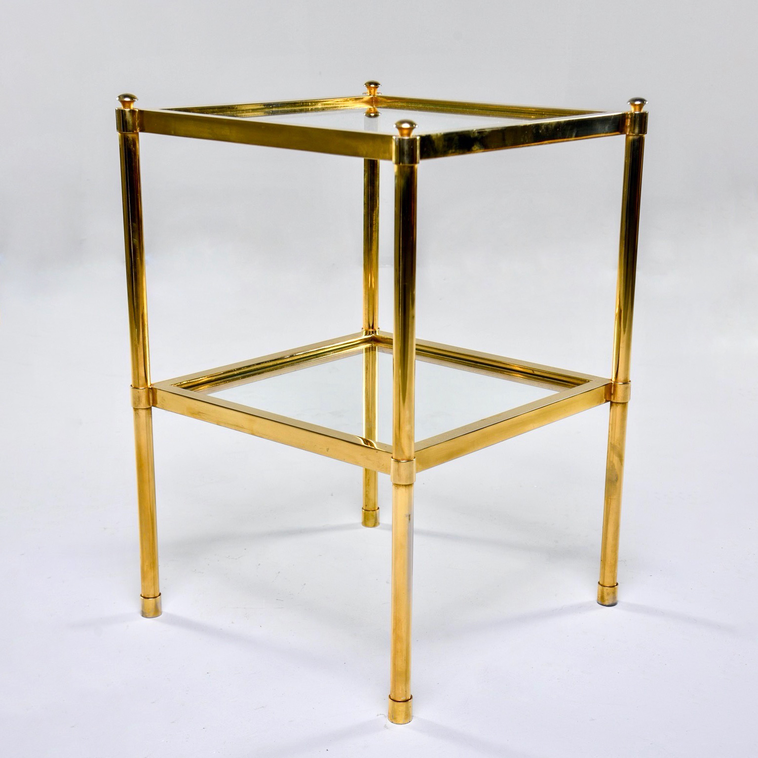 Italian Mid Century Two Tier Brass And Glass Side Table Item 9527