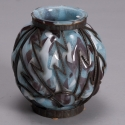 Verrerie D'Art Blue Art Glass Vase with Metal Surround