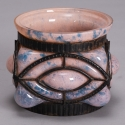 Verrerie d'Art Pink Glass Vase with Metal Surround