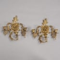 Pair French Bronze Three Light Sconces with Putti